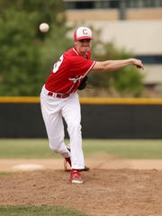 Canton senior pitcher Mitch Zelenak delivers the baseball