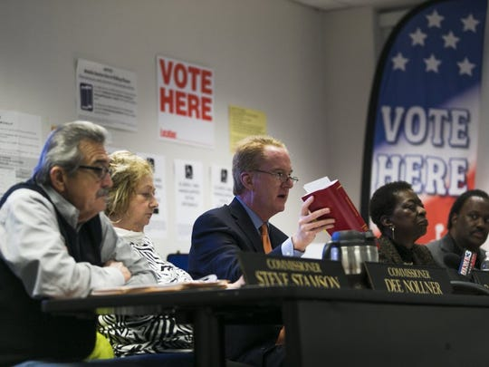 The decision to open more early voting locations was made by Shelby County Election commissioners (from left to right) Steve Stamson, Dee Nollner, chairman Robert Meyers, Norma Lester and Anthony Tate.