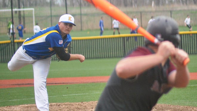 Lyndhurst pitcher Nick Matarazzo delivering against Bloomfield on April 22 as part of the South Bergen-Essex Baseball Showdown.