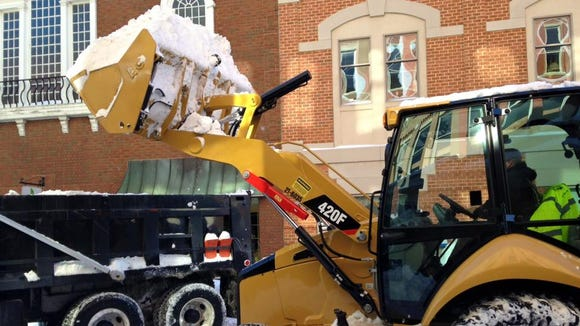 Beverley Street in downtown Staunton is closed for snow removal Sunday.