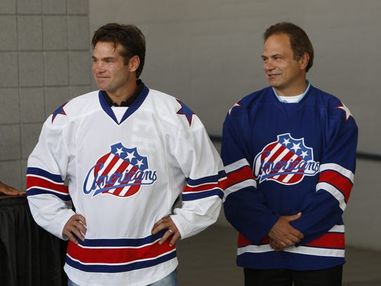 Amerks legends Chris Taylor, left, and Jody Gage. Taylor,