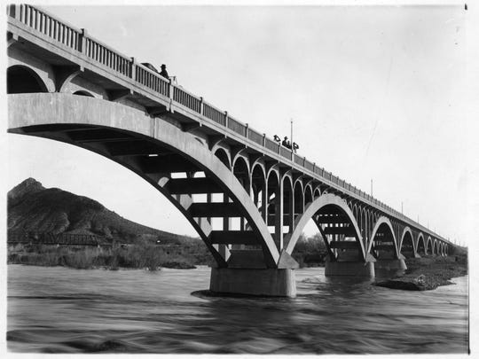 Tempe Bridge with the Salt River running under bridge,