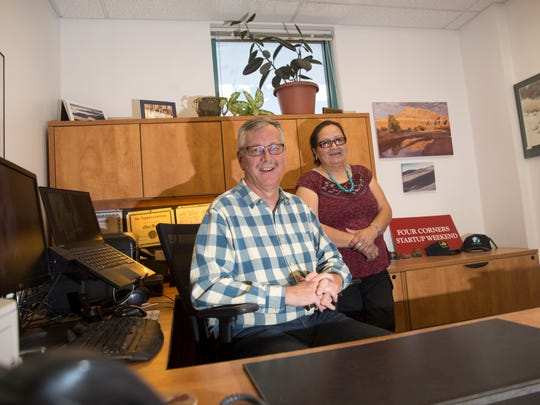 Chris Hunter, left, regional manager with WESST  and Verda Blackgoat, president of Dinéland Protection Services, pose for a portrait, Monday, Sept. 18, 2017 at San Juan College Quality Center for Business in Farmington.