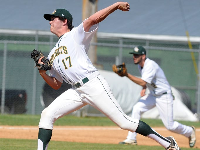 Reynolds' Bryce Hensley pitches against Enka   during the semifinals of the Mountain Athletic Conference 3-A tournament Tuesday at Reynolds. John Coutlakis 5-6-14