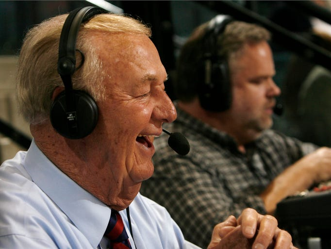 Slick Leonard broadcasts for the Pacers during their game at Conseco Fieldhouse in Indianapolis, Tuesday, March 31, 2009.  (Heather Charles/The Star)