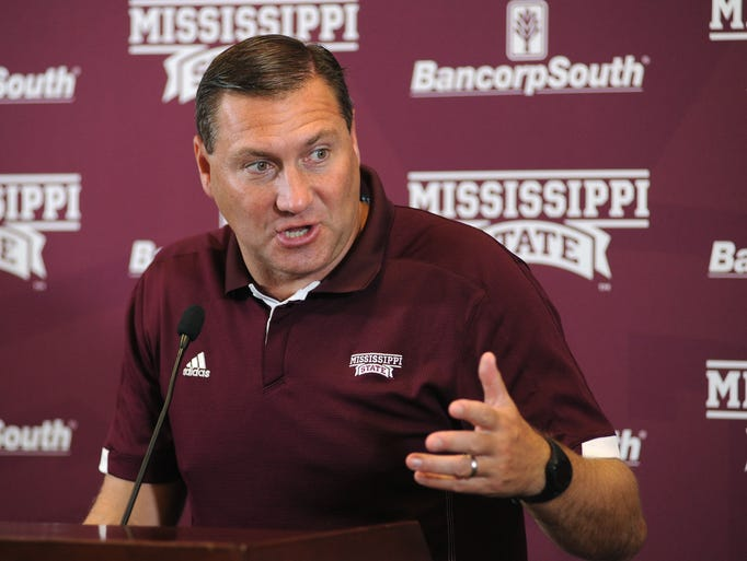 Mississippi State University Head Football Coach Dan Mullen speaks to reporters during Media Day activities at the school on Saturday.