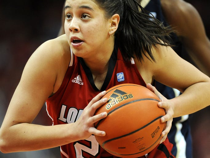 Louisville's Shoni Schimmel drives against Notre Dame on Monday at the KFC YUM! Center. Notre Dame won 68-52. Feb., 20, 2012