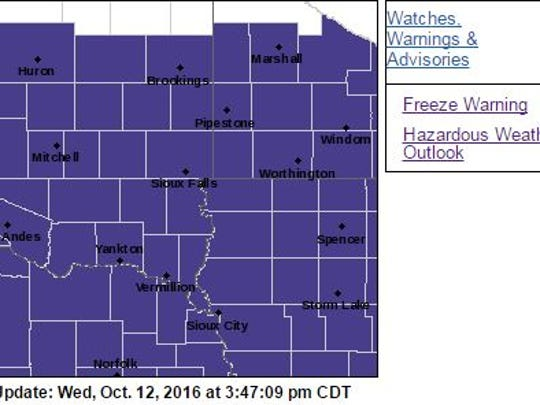 The area in purple is under a freeze warning from 1 to 9 a.m. Thursday. Temperatures can drop to the upper 20s.