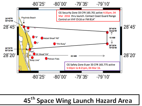 The 45th Space Wing Launch Hazard Area for March 4 SpaceX launch attempt. Boaters are to keep out of the area noted in the map.