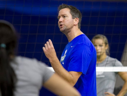 Florida Gulf Coast University's volleyball coach Matt Botsford leads the team in their first practice Thursday at FGCU.