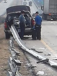 The guardrail entered George Jansen's truck through