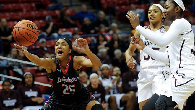 Louisiana Tech senior Brandi Wingate scored 25 points in the Lady Techsters' loss Sunday to No. 9 Mississippi State.