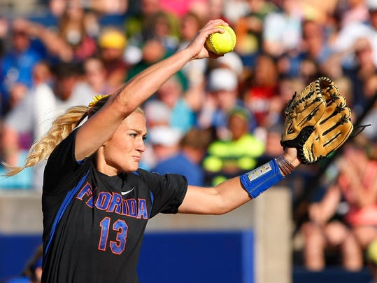 Florida starter Hannah Rogers pitches against Oregon during the first inning of an NCAA Women's College World Series softball tournament game in Oklahoma City, Friday, May 30, 2014.  Florida won 4-0. (AP Photo/Alonzo Adams)