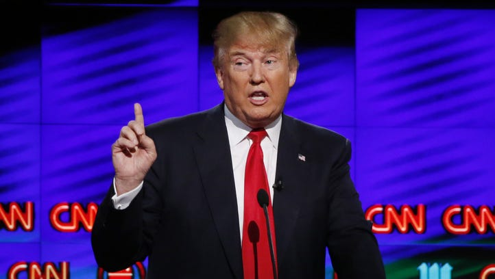 Donald Trump at a debate podium in March. Might his