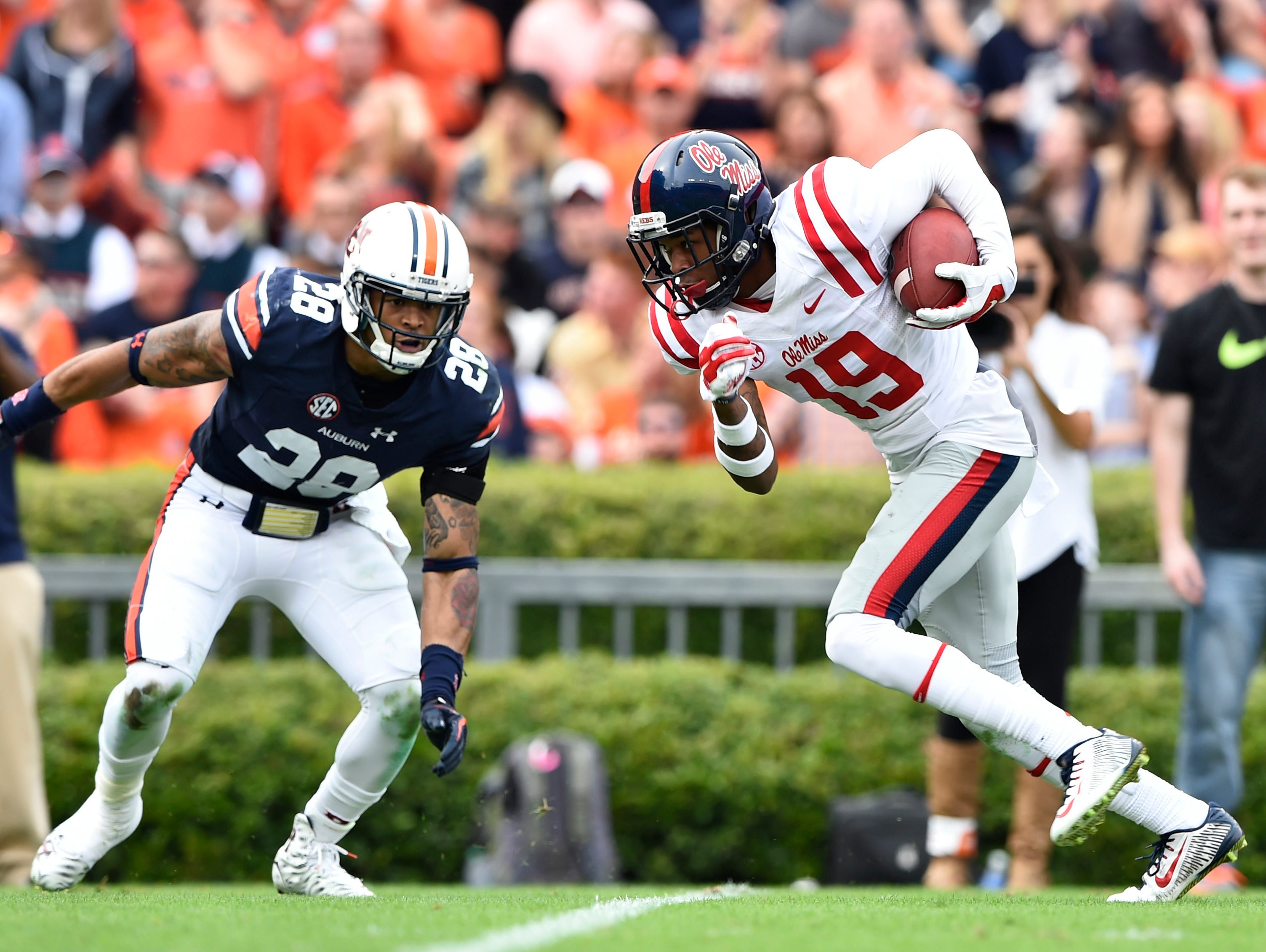 Ole Miss wide receiver Derrick Jones caught a big 45-yard touchdown against Auburn on Saturday after struggling to get much playing time this season.