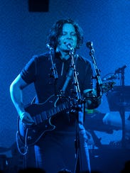 Jack White performs at Third Man Records on Saturday,