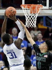 Seton Hall center Angel Delgado (31) goes up for a
