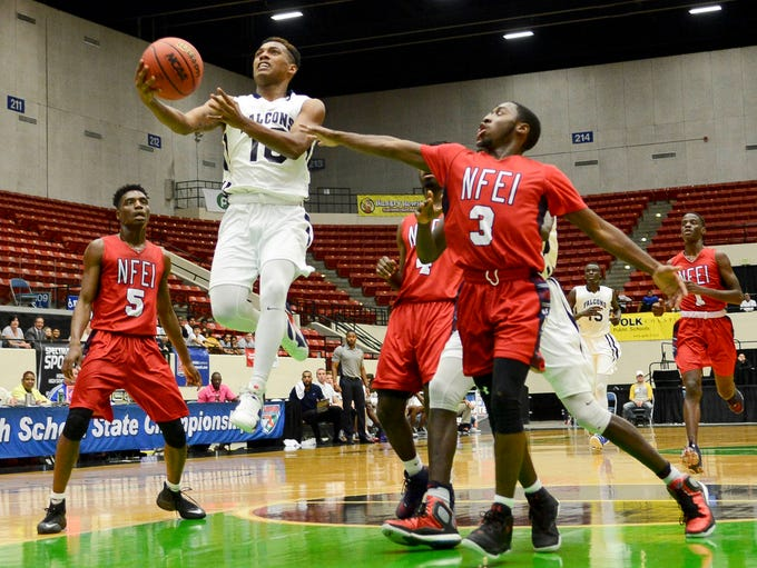Dejoun Small of Florida Prep takes a layup during Tuesday's