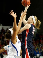 Belmont's Sally McCabe, right, shoots while defended