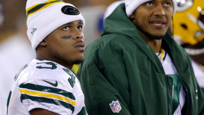 Green Bay Packers running back Don Jackson (left) watches during their game against the Chicago Bears on Oct. 20, 2016 at Lambeau Field.