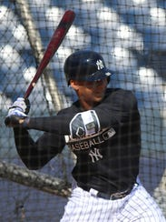 Yankee prospect Gleyber Torres during batting practice