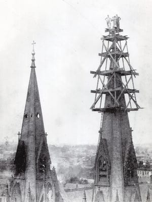 Reader Colleen Reilly submitted this photo of the former Assumption of the Blessed Virgin Mary Church at 2 N. Eighth Street, Lebanon. Reilly asks: Can anyone identify the three men perched on top of one of the spires? The photo was taken between 1880 and 1905, Reilly writes. The church was demolished in 1971, and a new church was built on that site. The parish will celebrate the 42nd anniversay of its dedication on Aug. 15 with Masses at 8 a.m. noon and 7 p.m. Socials will be held after the Masses. If you have a nostalgic or historic photo to share with Lebanon County Yesteryears, email it to citydesk@ldnews.com; mail it to Lebanon Daily News, 718 Poplar St., Lebanon, 17042; or drop it off at our office. Lebanon County Yesteryears will appear on Tuesdays.