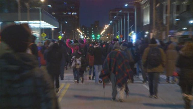 Protesters in downtown Cleveland