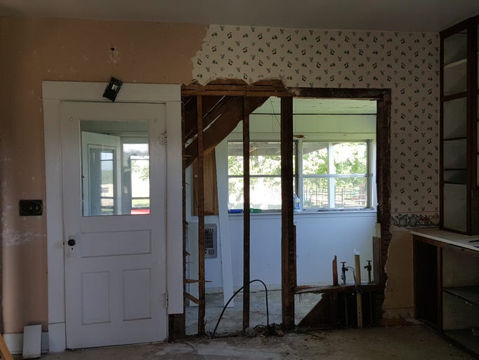 Looking into the back porch before it was changed into