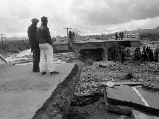 Damage to the bridge on South Palm Canyon Drive 1938.