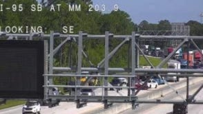 Northbound Interstate 95 traffic was slowed down by a crash that blocked two lanes Tuesday.