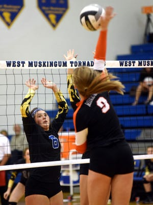 West Muskingum's Sarah Junk, left, waits for Abbey Kellish to spike over the net during the Tornadoes' 25-20, 22-25, 17-25, 21-25 loss to visiting West Lafayette Ridgewood in a Division III sectional game on Tuesday at Gary Ankrum Gymnasium.