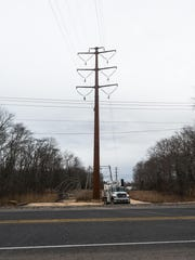 A new double circuit line steel pole just off North Main Road between Garden Road and East Wheat roads in Vineland.