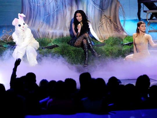Nicki Minaj performs at the BET Awards  Sunday in Los Angeles.
