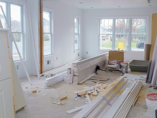 Interior construction of housing project with drywall installed door for a new home before installing