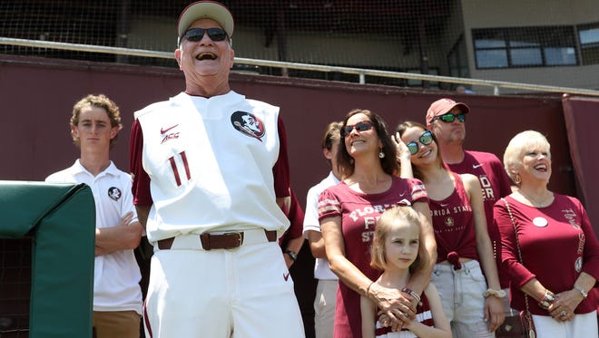 FSU Head Coach Mike Martin is honored as the all-time winningest coach in NCAA history during a ceremony at Dick Howser Stadium on Saturday, May 19, 2018.