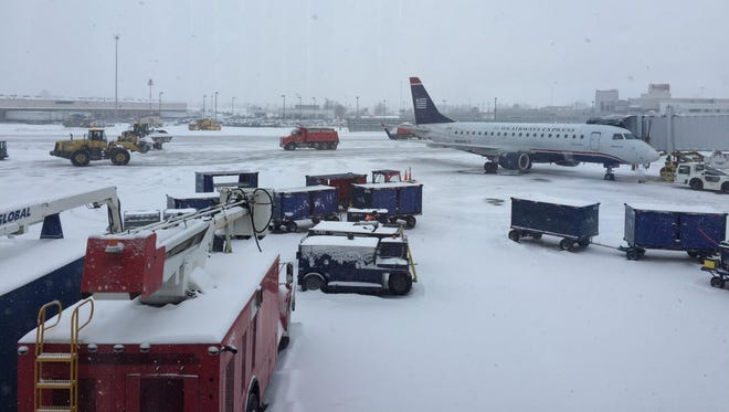 Louisville International Airport on a snowy day.