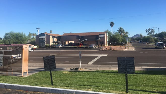 """The apartment complex near 26th and Roosevelt streets where a man was shot by Phoenix police on Aug. 17, 2017. Police said the man was armed with knives and wouldn't obey commands, even after they used """"less lethal"""" means on him."""