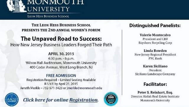 Invitation to women's forum on April 30 at Monmouth University