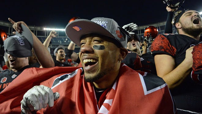 San Diego State Aztecs running back Donnel Pumphrey celebrate the Mountain West title victory over Air Force last season.