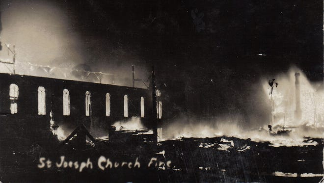 St. Joseph's Church in Fond du Lac on fire in September 1908 from a postcard owned by Tracy Reinhardt.