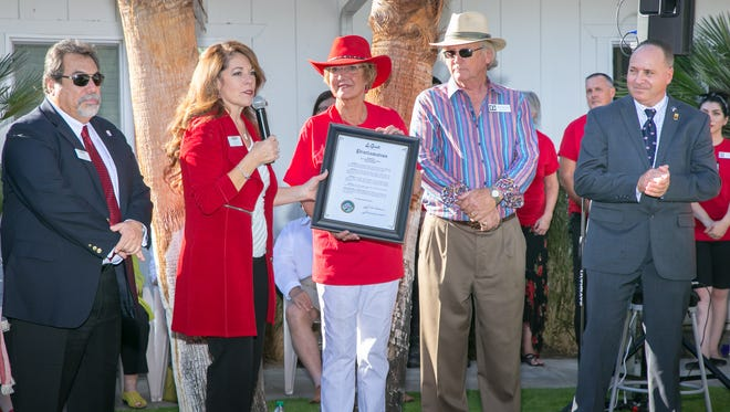 (L-R) La Quinta city council members Kathleen Fitzpatrick and John Pena, La Quinta mayor Linda Evans, founder Victory Grund and State Senator Jeff Stone's staff member Glen Miller at ribbon cutting ceremony for the grand opening of the Art Park.