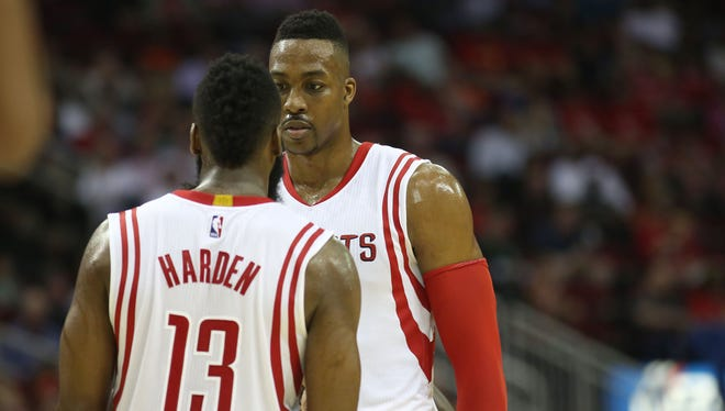 The Rockets bring the challenge of defending James Harden and Dwight Howard