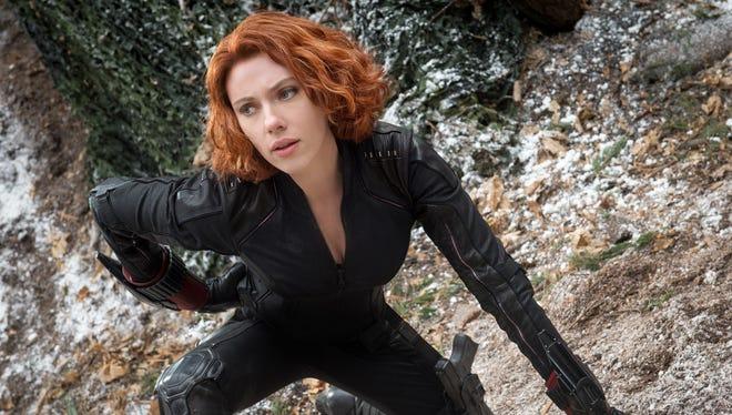 "Scarlett Johansson is Black Widow/Natasha Romanoff in ""Avengers: Age Of Ultron."""