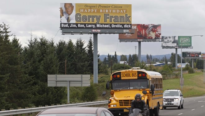 A billboard commemorating Gerry Frank's 90th birthday along Interstate 5, near Keizer Station, on Monday, Sept. 16, 2013.