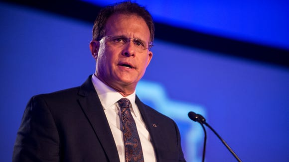 Auburn football head coach Gus Malzahn speaks to the media during Day 1 of SEC Media Days on Monday, Jul. 11, 2016 at the Wynfrey Hotel in Hoover, Ala.