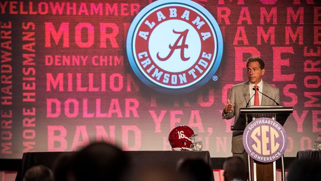 Alabama football head coach Nick Saban speaks to the media during Day 3 of SEC Media Days on Wednesday, Jul. 13, 2016 at the Wynfrey Hotel in Hoover, Ala.