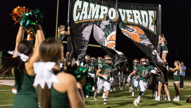 Campo Verde takes the field before their high school football game against Williams Field on Friday, Sept. 23, 2016 in Gilbert.