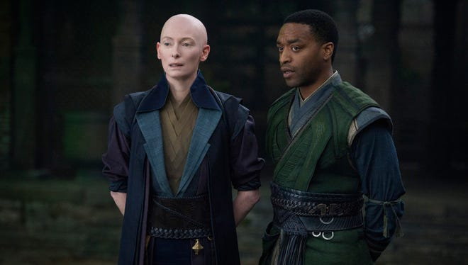 Tilda Swinton plays the Ancient One and Chiwetel Ejiofor is Karl Mordo in 'Doctor Strange.'