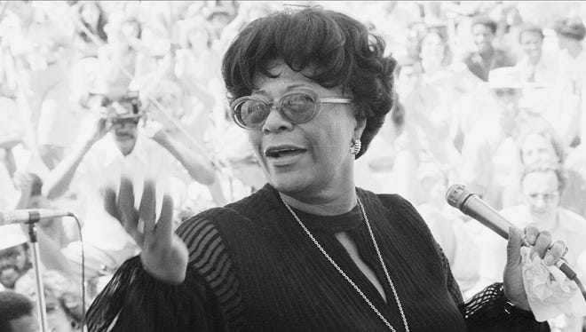 This 1978 photo shows Ella Fitzgerald performing at the Newport Jazz Festival.