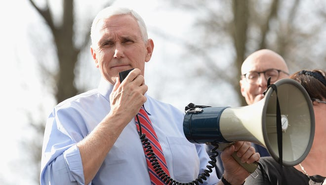 Vice President Pence addresses the crowd Feb. 22, 2017, during a press conference at Chesed Shel Emeth Cemetery in University City, Mo., where vandals knocked over and damaged tombstones in one of several instances of antisemitic vandalism and threats nationwide.